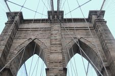 Free Brooklyn Bridge Close Up With Blue Background Royalty Free Stock Images - 8039799