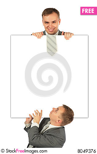 Two businessmen with board Stock Photo