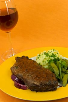 Roast Beef With Red Wine Stock Images