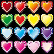 Free Set Of Hearts Royalty Free Stock Photo - 8041555