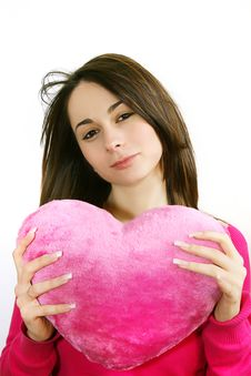 Free Woman With A  Heart Stock Image - 8043011