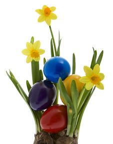 Free Easter Eggs With Yellow Narcissus Royalty Free Stock Photo - 8043665