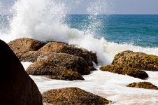 Splashing On Seaside At Sunny Day Stock Photography
