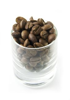 Coffe Beans In Glass Royalty Free Stock Photography