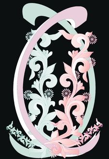 Free Pink And Blue Ornament On Black Stock Photo - 8046250