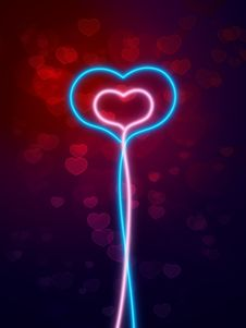 Free Abstract  Lighting Hearts Royalty Free Stock Photo - 8047225