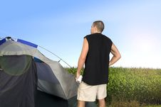 Free Man Camping Royalty Free Stock Images - 8048809