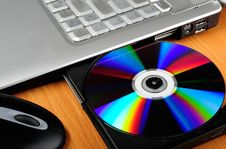 Free Laptop With Disk Royalty Free Stock Image - 8048886