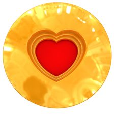 Free Red Heart In Gold Royalty Free Stock Images - 8049049