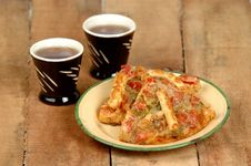 Free Black Tea With Pizza Stock Photos - 8049133