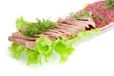 Smoked Sausage And Beef Tongue Stock Photos