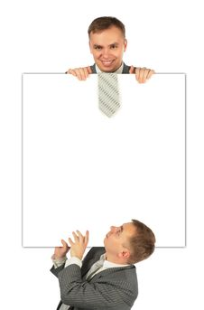 Two Businessmen With Board Royalty Free Stock Image