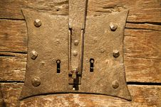 Free The Antique Iron Closed Lock On An Old Door Royalty Free Stock Photo - 8049865