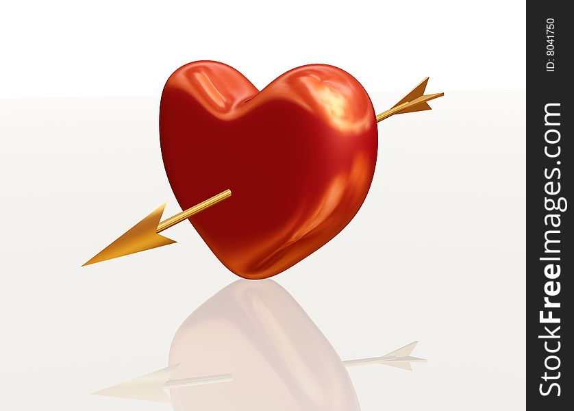 Golden red heart with arrow
