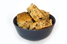 Rusks In A Blue Bowl Stock Photos