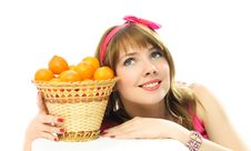 Free Dreamy Girl With Tangerines Stock Photos - 8050513