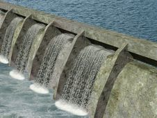 Free Dam With Water Flowing Stock Images - 8050834