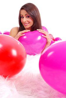 Free Woman Lying On Floor Among Balloons Royalty Free Stock Photography - 8051127