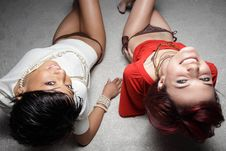 Free Women Looking Overhead At The Camera Stock Images - 8052234