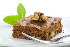 Hot Chocolate Brownie With Walnuts And Vanilla Royalty Free Stock Photo