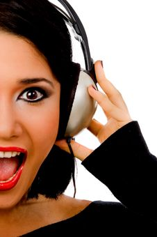 Portrait Of Happy Young Female Listening Music Stock Photo