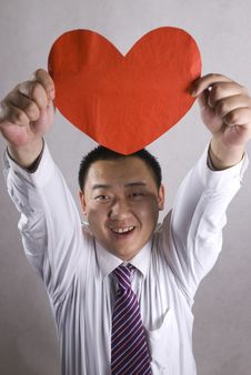 Free Aisa Man With Red Heart Stock Photography - 8053262