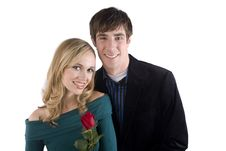 Free Happy Couple Holding A Rose Royalty Free Stock Photos - 8053378