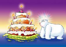 Free Polar Bear With Birthday Cake Stock Photo - 8056120