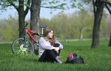 Free Young Lady Cycling In The Park Royalty Free Stock Photos - 8056408