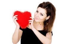 Free Woman With Red Heart Royalty Free Stock Photography - 8056617