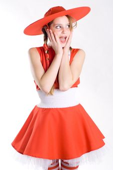 Free Surprised Girl In Red Stock Photo - 8057190
