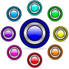 Free Colorful Metallic Buttons Royalty Free Stock Photography - 8057287