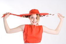 Free Joking Girl With Pigtails Royalty Free Stock Images - 8057559
