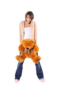 Free Girl With Teddy Bear Royalty Free Stock Photography - 8058217