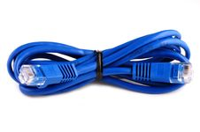 Free Blue Network Cat5 Cable Isolated On White Stock Image - 8058711