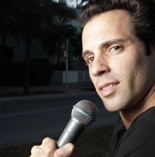 Man With A Mic Stock Photo