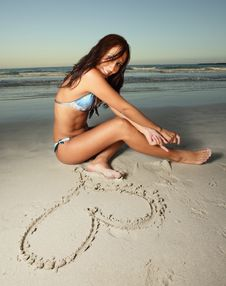 Free Hearts In The Sand Stock Photo - 8059390