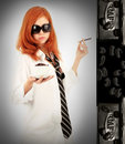 Free Young Red-haired Girl And Coffee Stock Image - 8061061