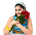 Free Woman A Bouquet Of Red Roses Royalty Free Stock Image - 8067146