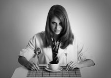 Free Breakfast Modern Business-lady Royalty Free Stock Image - 8061076