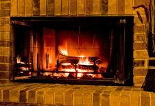 Free Warm Burning Fireplace Stock Images - 8061194