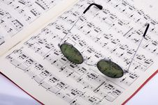 Glasses With Music Stock Photo