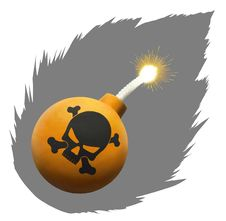 Orange Bomb With Skull Stock Photography