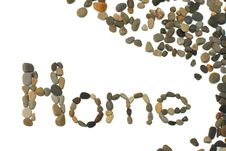 The Word Home Written Using Pebbles Stock Image