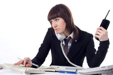Free Young Beautiful Business Lady Working At A Desk. Stock Photography - 8063112