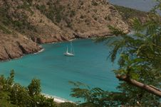 Free Tropical Bay With Sailboat Stock Images - 8063114