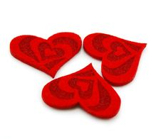 Free Three Hearts Made Of Cloth Royalty Free Stock Photography - 8063807