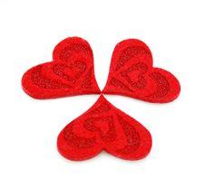Free Three Hearts Made Of Cloth Stock Photo - 8063810