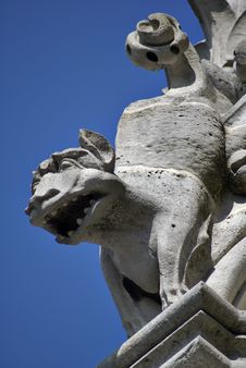 Free Frowning Gargoyle Against Blue Sky Royalty Free Stock Photography - 8063997