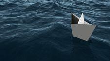 Paper Ship On The Sea Stock Photos